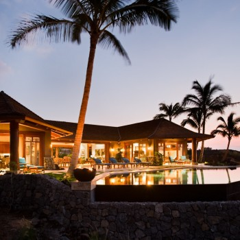 Exterior, horizontal, rear twilight view looking at lanai and negative edge pool, Lot #11, Manini'owali Kuki'o Golf Resort, Hawaii