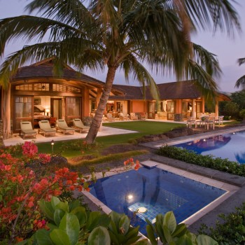 Exterior, horizontal, west elevation overall at twilight, Conner residence, Kuki'o Golf Resort, Hawaii, McLaughlin & Associates Architects