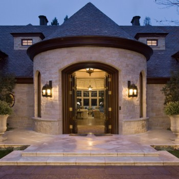 Exterior, horizontal, entry detail at twilight, Lucas Residence, Atherton CA, McLaughlin Architects, Studio Waterman Interiors